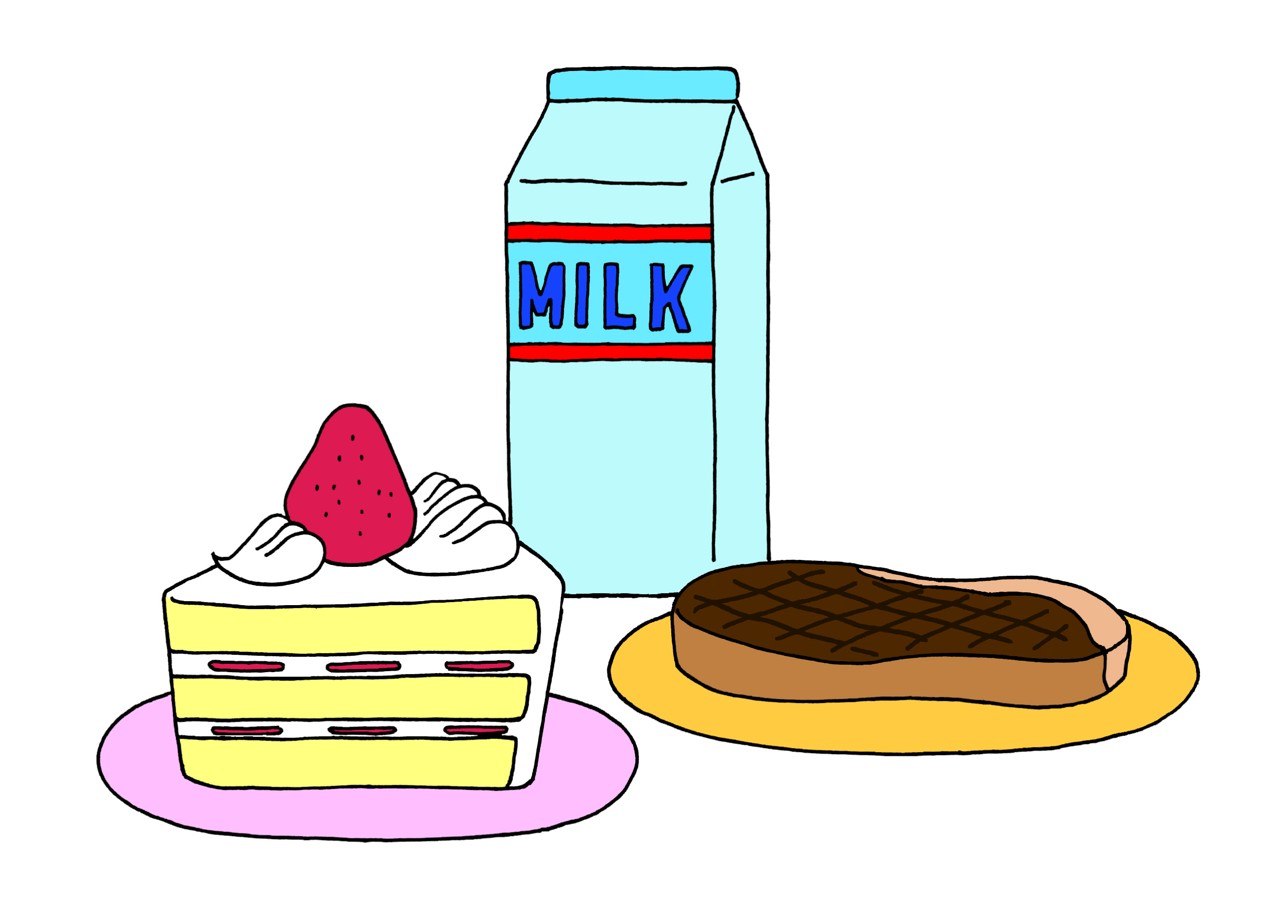 牛乳・ケーキ・パン